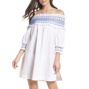 Ted Baker Blue Embroidered White Cover Up Size S
